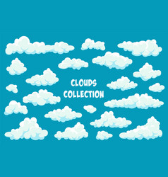 white clouds set abstract blue summer sky simple vector image