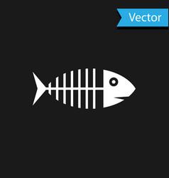 white fish skeleton icon isolated on black vector image