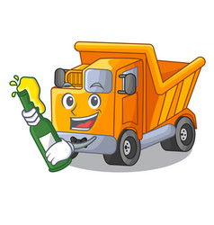 With beer character truck dump on trash vector