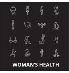 woman health editable line icons set on vector image