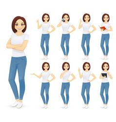 woman in jeans set vector image