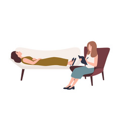 Woman lying on sofa and female psychologist vector