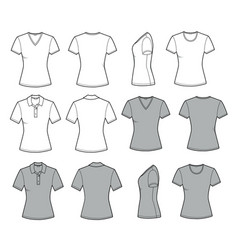 womens t shirt for template in front back and vector image