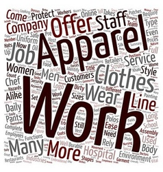 Work apparel text background wordcloud concept vector