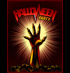 Zombie hand halloween party vintage beam vector