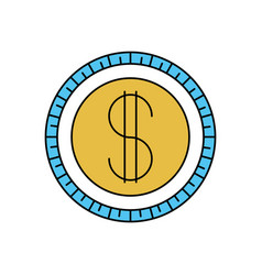 Color sectors silhouette of coin icon vector