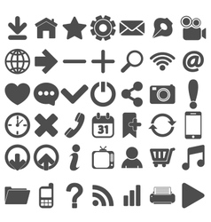 Grey Web Icons Set on white vector image vector image