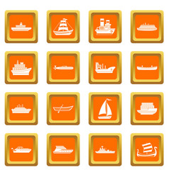 Sea transport icons set orange vector