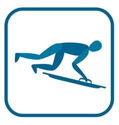 skeleton sportsman emblem vector image