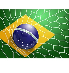 Soccer ball in net with brazil flag vector image