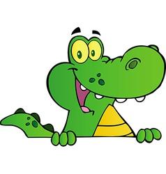 Alligator Smiling Over A Sign Board vector image