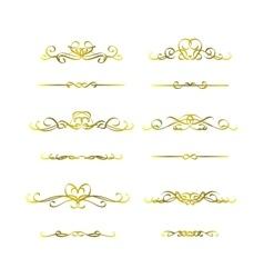 Calligraphic frame golden set vector image vector image