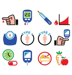 Diabetes disease health medical icons set vector image vector image