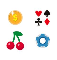 flat cartoon casino gambling symbols set vector image vector image