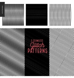 Glitch patterns set vector image vector image