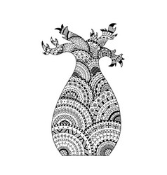 Baobab tree coloring page book in zentangle style vector