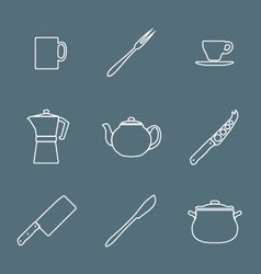 flat white outline dinnerwarwe icons set vector image