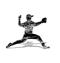 grunge silhouette baseball player vector image