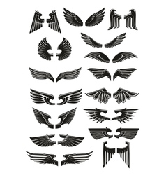 Heraldic black wings icons set vector image vector image