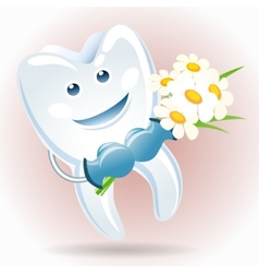 joyful tooth with a bunch of camomiles vector image vector image