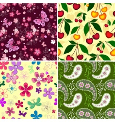 set seamless spring patterns vector image vector image