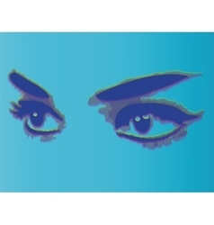 Woman eyes isolated on blue background vector image
