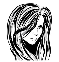 girl sketch face vector image vector image