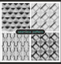seamless patterns with halftone dots 5 vector image
