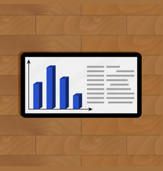 statistical infochart on tablet vector image vector image