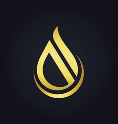 water drop abstract shape gold logo vector image vector image