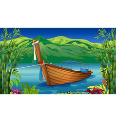 A boat near the bamboo plant vector