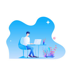 a man is working at desk with his laptop modern vector image
