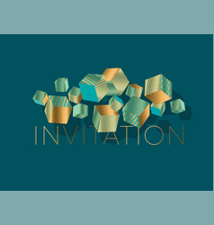 abstract geometric cube element for card vector image