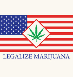 american flag with a leaf legalized marijuana vector image