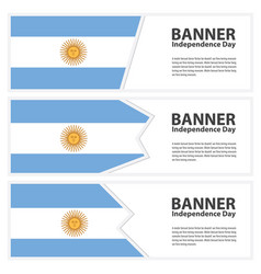 Argentina flag banners collection independence day vector