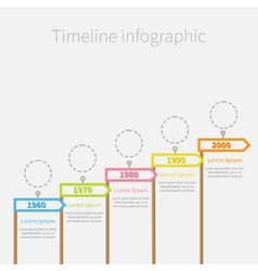 Arrow Flag on wooden sticks Timeline Infographic vector