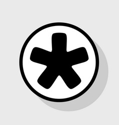 Asterisk star sign flat black icon in vector