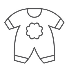 Baby clothes thin line icon kid and clothing vector