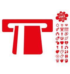 bank card terminal icon with valentine bonus vector image