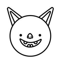 bat face cartoon icon design line image vector image
