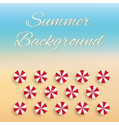 Beach background with sun umbrellas vector image