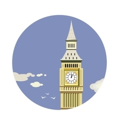 Big ben tower closeup with clouds icon vector