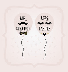 Black and pink mrs lashes and mr staches balloons vector