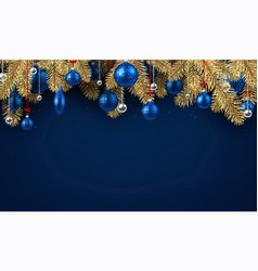 blue christmas background with spruce branches vector image
