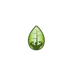 Body builder fresh fitness and leaf logo designs vector