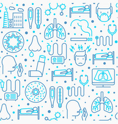 Bronchitis seamless pattern with thin line icons vector