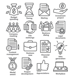 Business project planning icons in line style vector