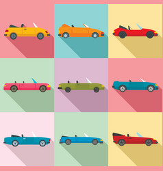 Cabriolet icons set flat style vector