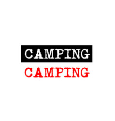 Camping rubber stamp badge with typewriter set vector