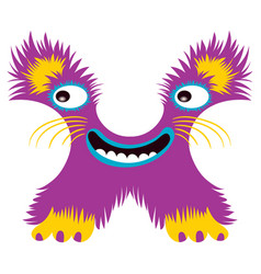 cartoon capital letter x from monster alphabet vector image
